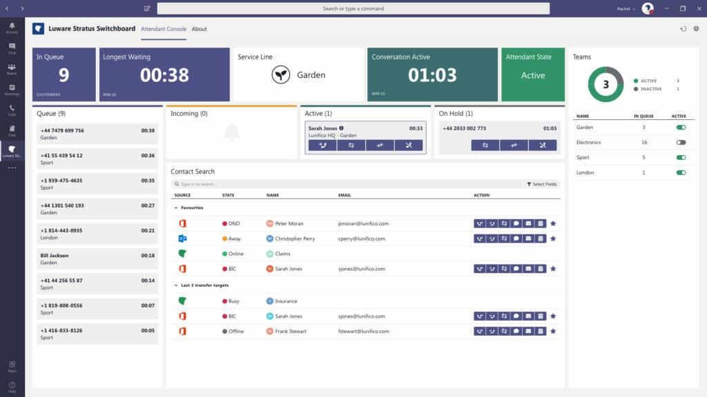 Luware Vermittlerplatz für Microsoft Teams - die Switchboard/Attendant Console Lösung für einfache Anrufweiterleitung für Vermittler und Rezeptionisten