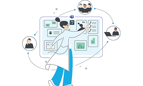 Illustration showing Microsoft Teams as an Experience Hub